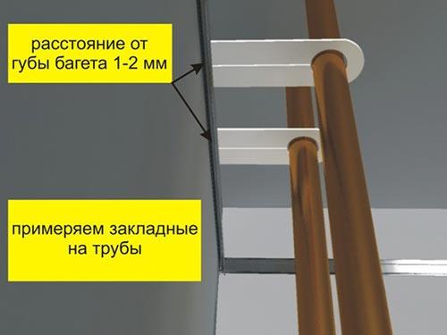 Как обойти трубу натяжным потолком