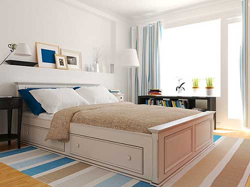 На фото спальня в белом цвете