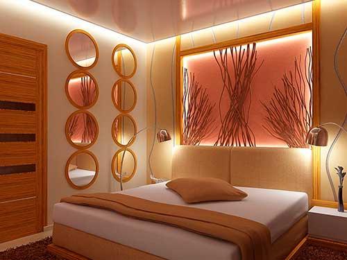 На фото дизайн освещения спальн