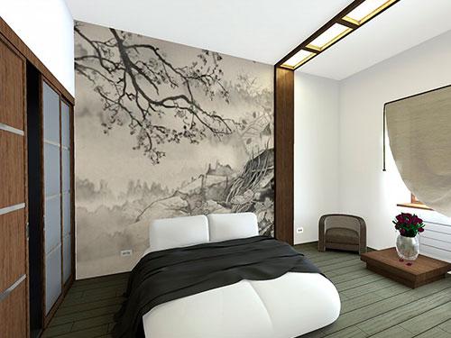 На фото кровать в японском стиле