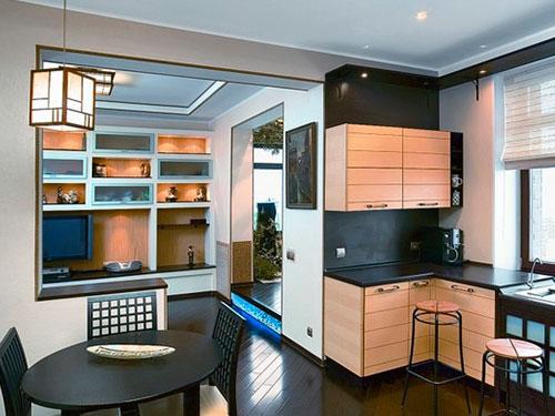 На фото кухня в японском стиле