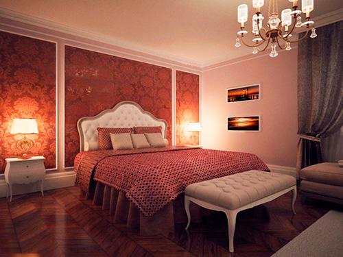 На фото комбинированные обои для спальни
