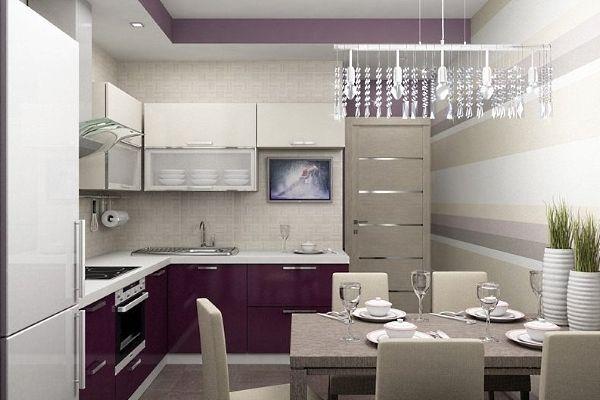 Планировка кухни 9 кв. метров с холодильником.