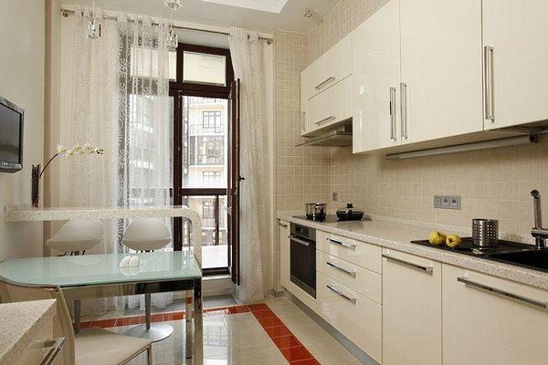 Дизайн кухни 9 кв. м с балконом.