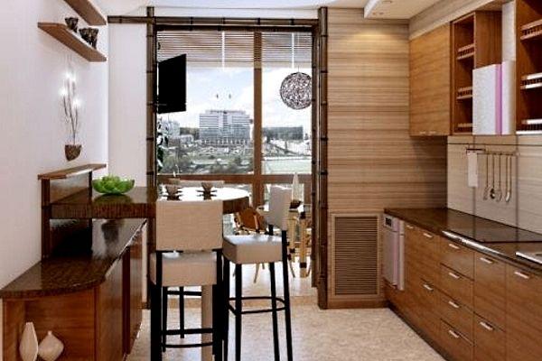 Вариант дизайна кухни 8 кв. м с балконом.