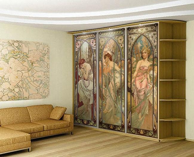 Декорирование шкафа-купе художественным полотном Фреска