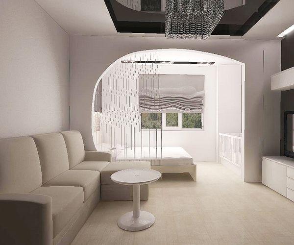 Уютная спальня с зонированием на просторную гостиную и зону сна