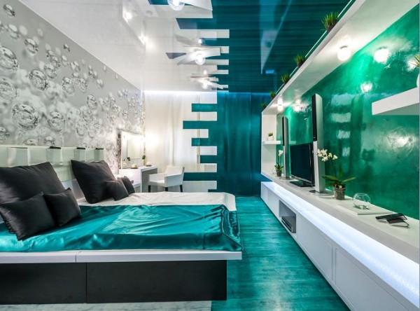 Зонирование спальни с помощью цвета и декора. Подобное цветовое решение подойдет смелым, дерзким натурам