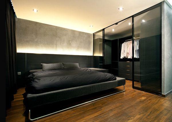 Дизайн спальни с местом, отведённым под гардеробную