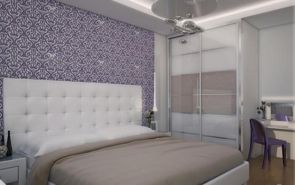 Интерьер спальни с элементами стилей модерн и хай-тек