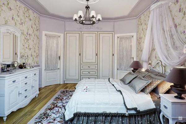Стены могут быть украшены растительным неярким орнаментом, мебель традиционно белая
