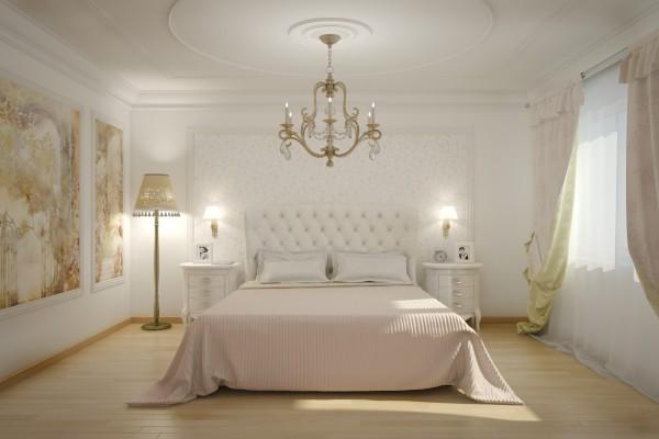 Особенно шикарно выглядит светлая спальня