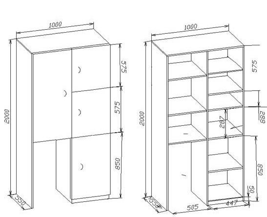 Примерный чертеж шкафа на балкон