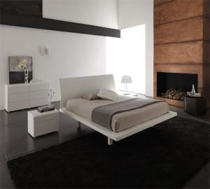 Интерьер спальной комнаты в стиле модерн с элементами минимализма