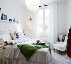 Белоснежная спальня в скандинавском стиле