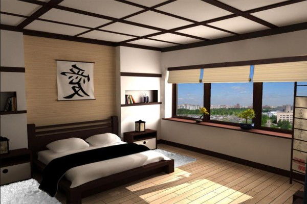 Пример оформления спальни в японском стиле