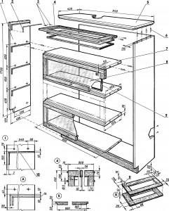 Схема книжного шкафа