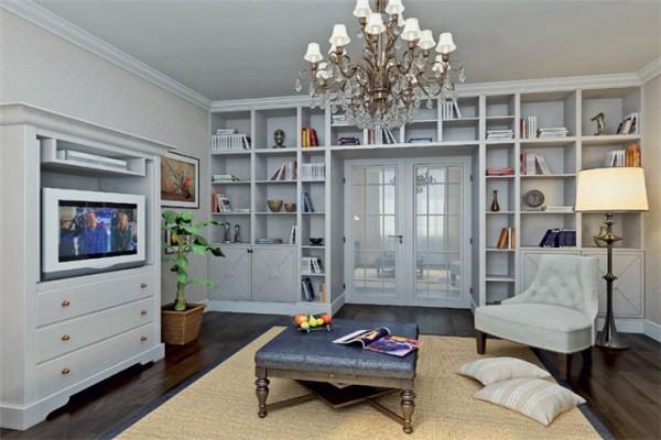 Дизайн библиотеки-гостиной