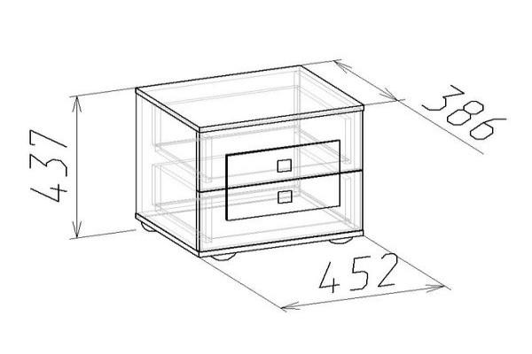 Чертёж прикроватной тумбы с двумя ящиками