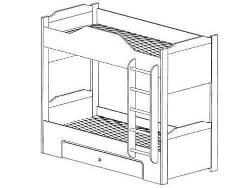 На фото чертеж двухъярусной кровати
