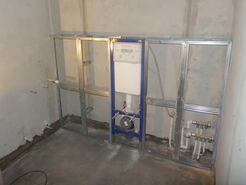 На фото схема установки подвесного унитаза