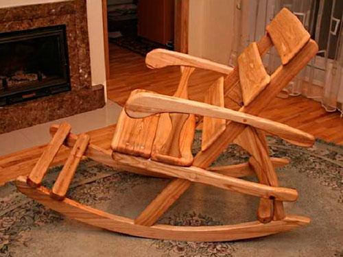 На фото чертеж кресла качалки из фанеры