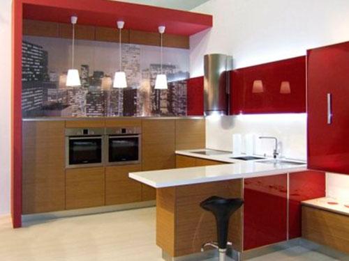 На фото освещение на кухне