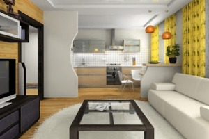 View on the modern apartment 3d rendering