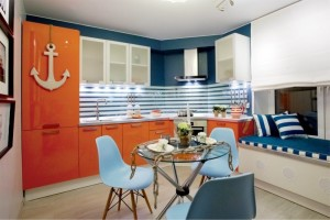 Интерьер-соврменной-кухни-в-морском-стиле-300x200