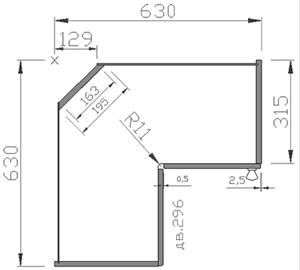 Эскиз углового шкафа на кухню