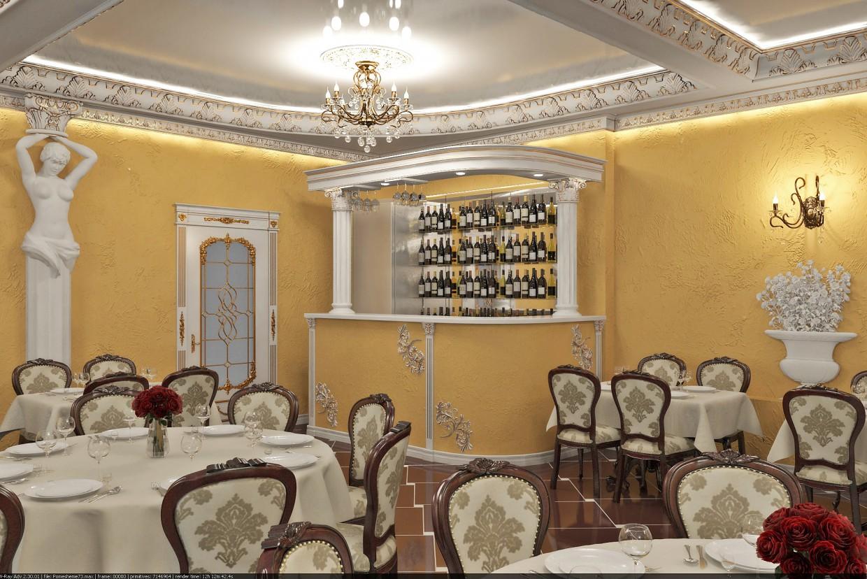 Дизайн интерьера в кафе в классическом стиле