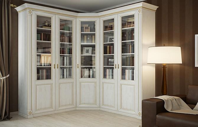 Белый книжный шкаф со стеклянными дверцами