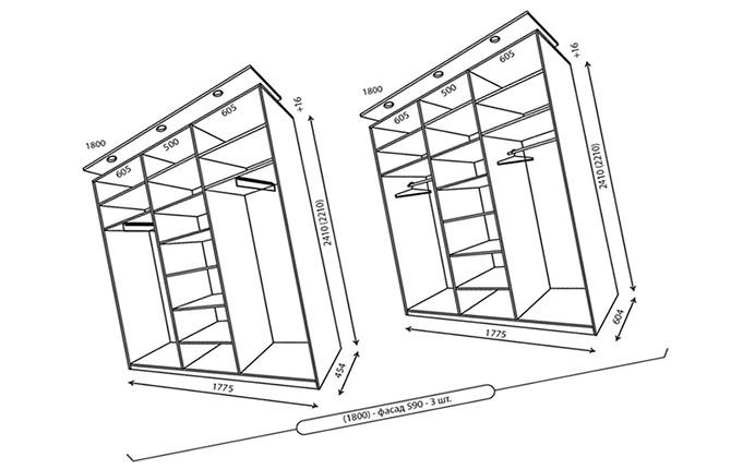 Вариант трехстворчатого шкафа с размерами
