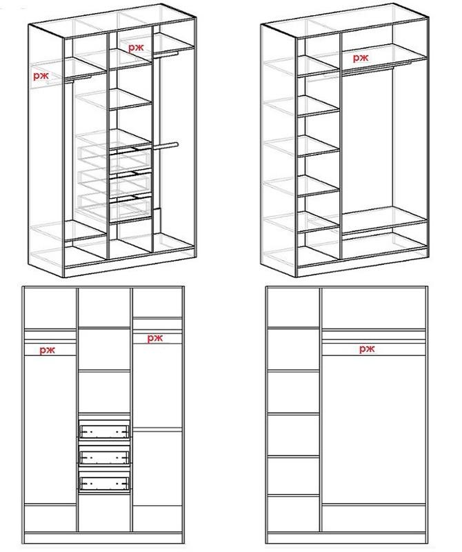 Схема трехстворчатого шкафа