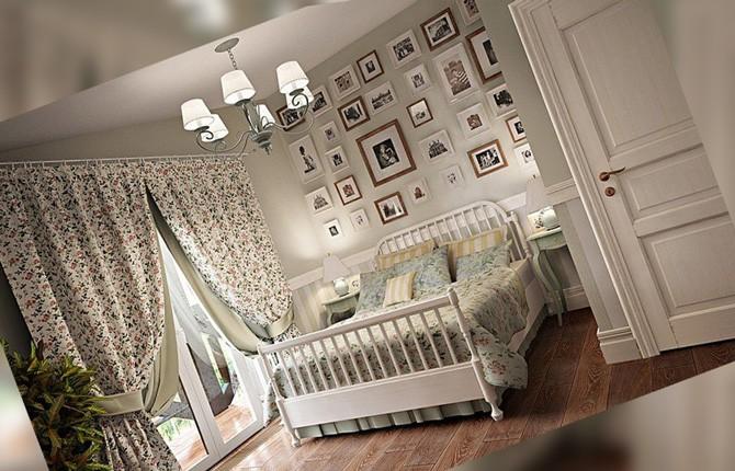Стены с рамками в спальне прованс