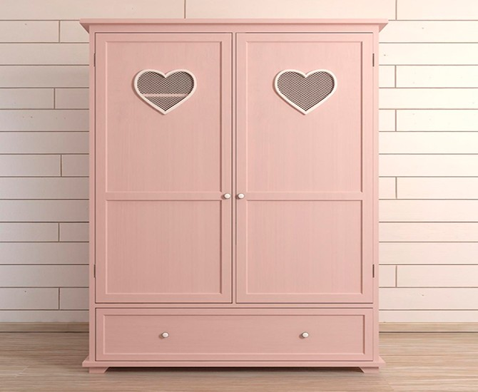 Двухстворчатый шкаф розовый