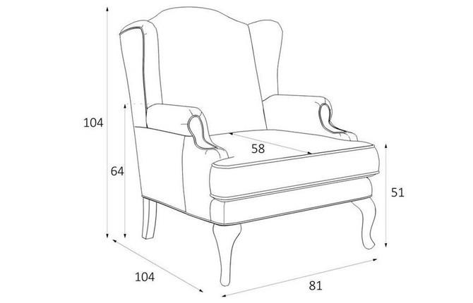 Распространенные размеры для каминного кресла