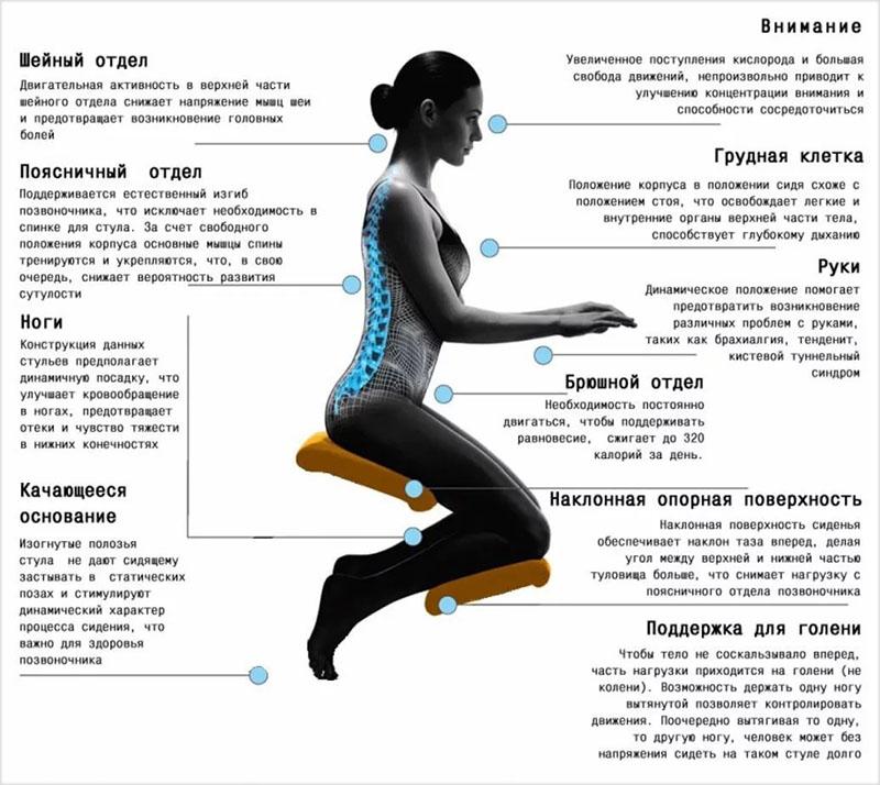 Особенности сидения на коленном стуле