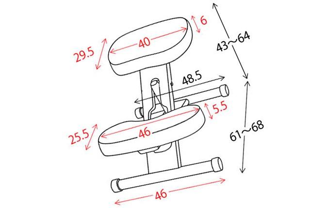 Примеры размера коленного стула
