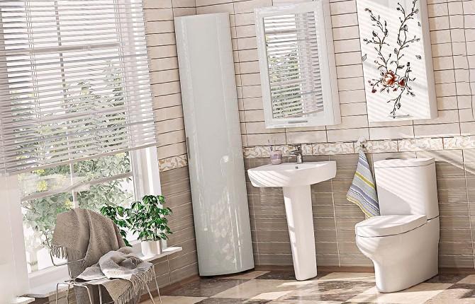 Пример углового шкафа для ванной комнаты