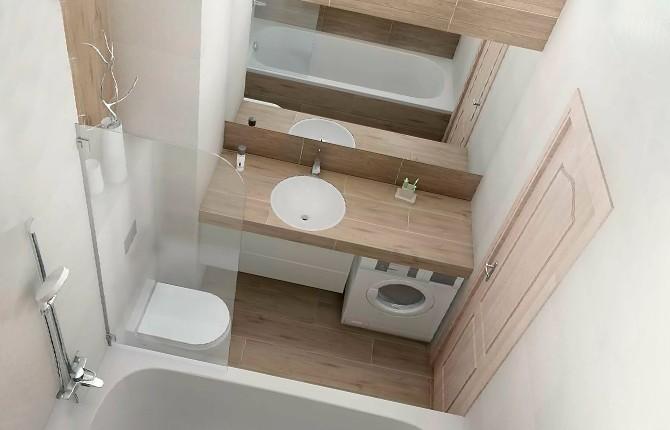 Нестандартный вариант модульной мебели в ванной комнате